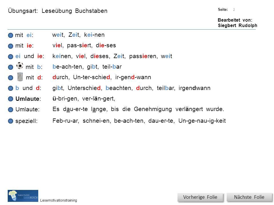 Übungsart: Titel: Quelle: Seite: Bearbeitet von: Siegbert Rudolph Lesemotivationstraining Spezielle Übungen Titel: Quelle: Nächste Folie Wörterschlange.