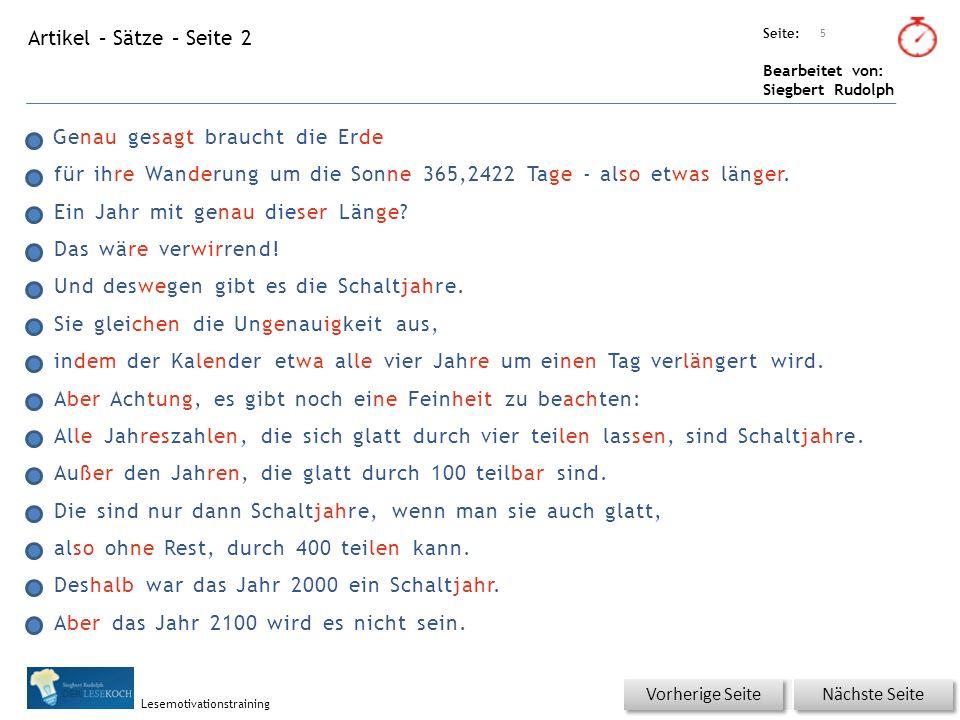 Übungsart: Titel: Quelle: Seite: Bearbeitet von: Siegbert Rudolph Lesemotivationstraining Titel: Quelle: Hurra, wieder ein Stück weiter.