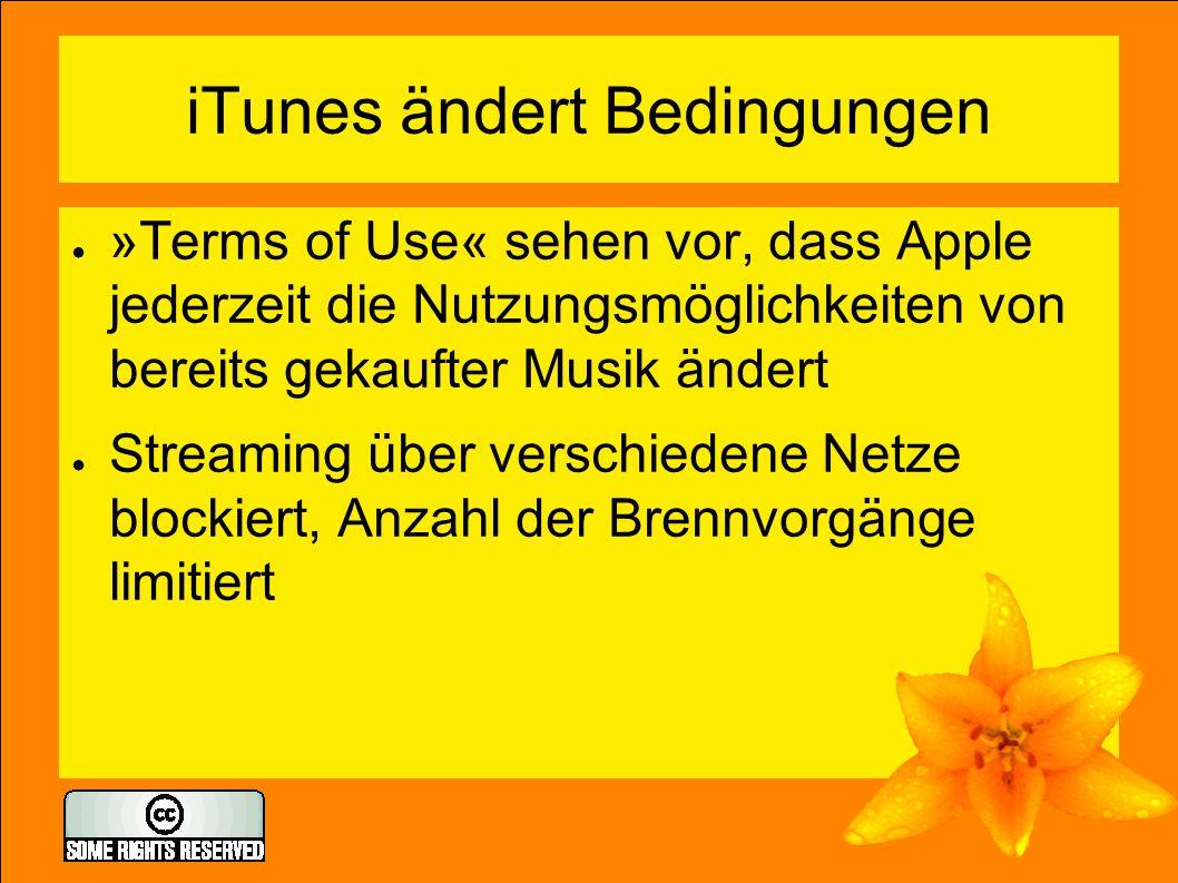 iTunes ändert Bedingungen ● »Terms of Use« sehen vor, dass Apple jederzeit die Nutzungsmöglichkeiten von bereits gekaufter Musik ändert ● Streaming üb