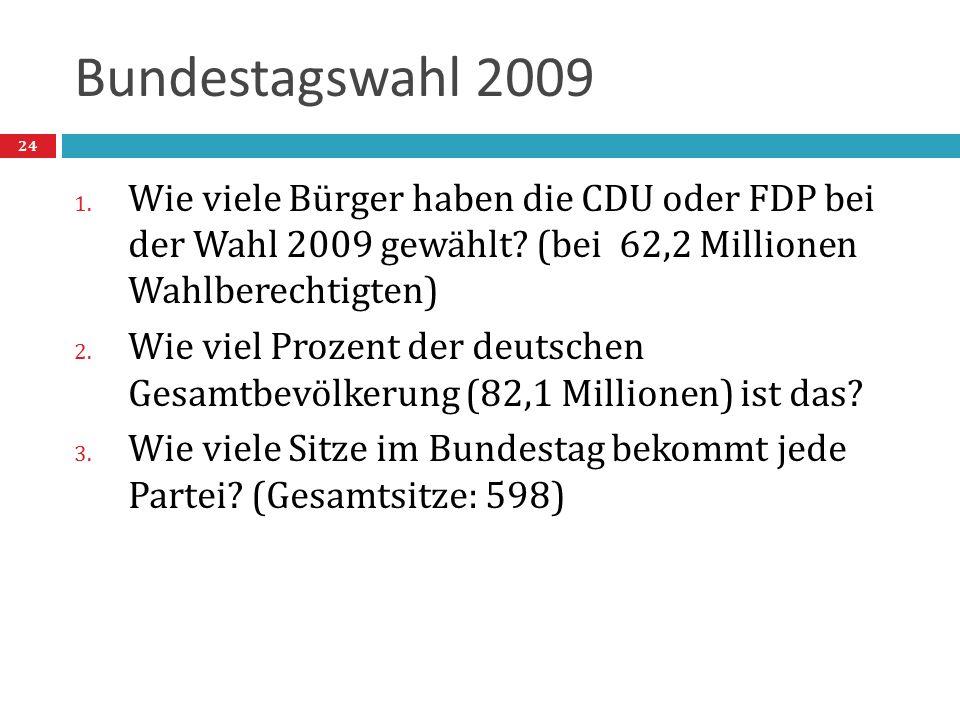 Bundestagswahl 2009 1. Wie viele Bürger haben die CDU oder FDP bei der Wahl 2009 gewählt? (bei 62,2 Millionen Wahlberechtigten) 2. Wie viel Prozent de