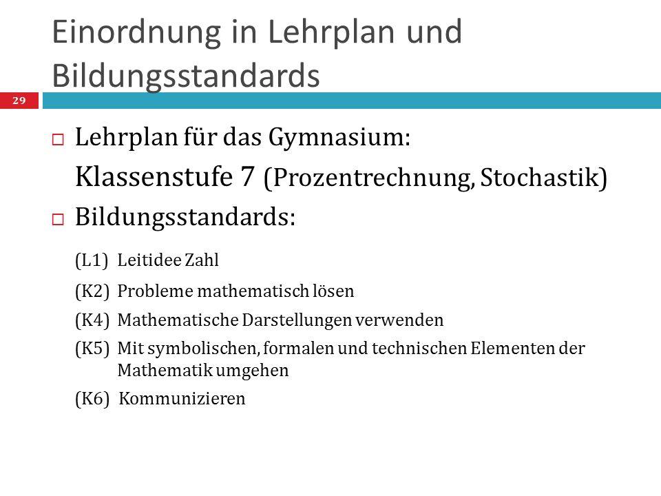 Einordnung in Lehrplan und Bildungsstandards  Lehrplan für das Gymnasium: Klassenstufe 7 (Prozentrechnung, Stochastik)  Bildungsstandards: (L1) Leit