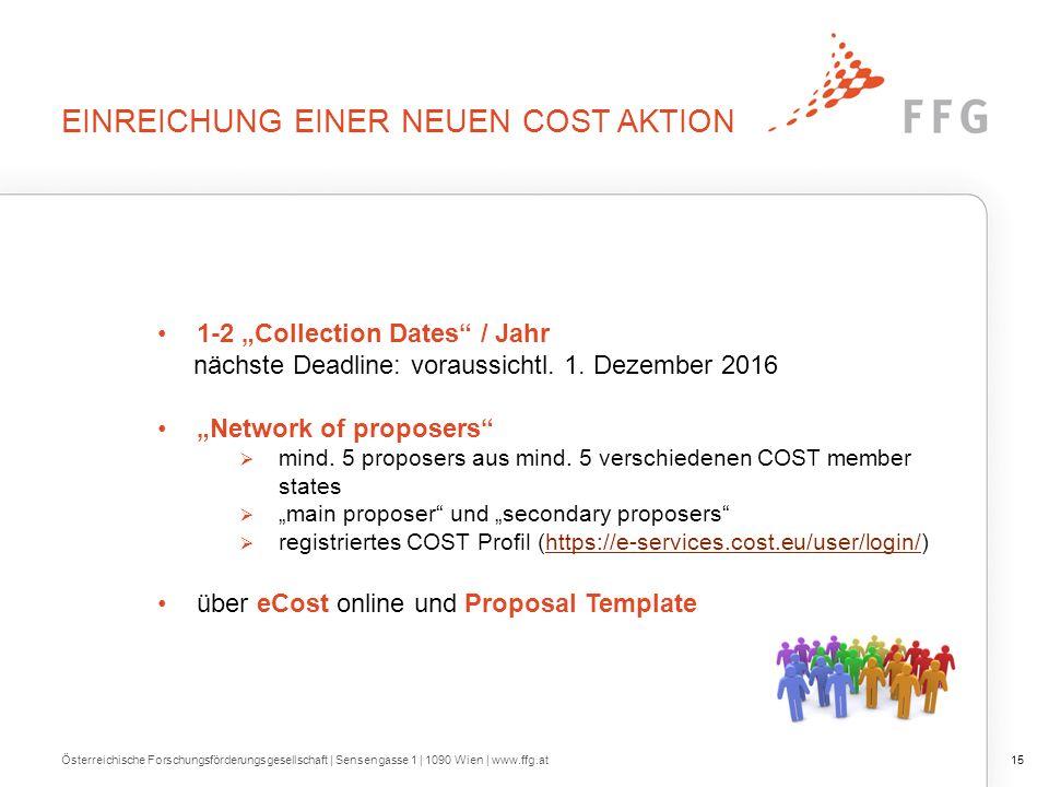 """EINREICHUNG EINER NEUEN COST AKTION 1-2 """"Collection Dates / Jahr nächste Deadline: voraussichtl."""