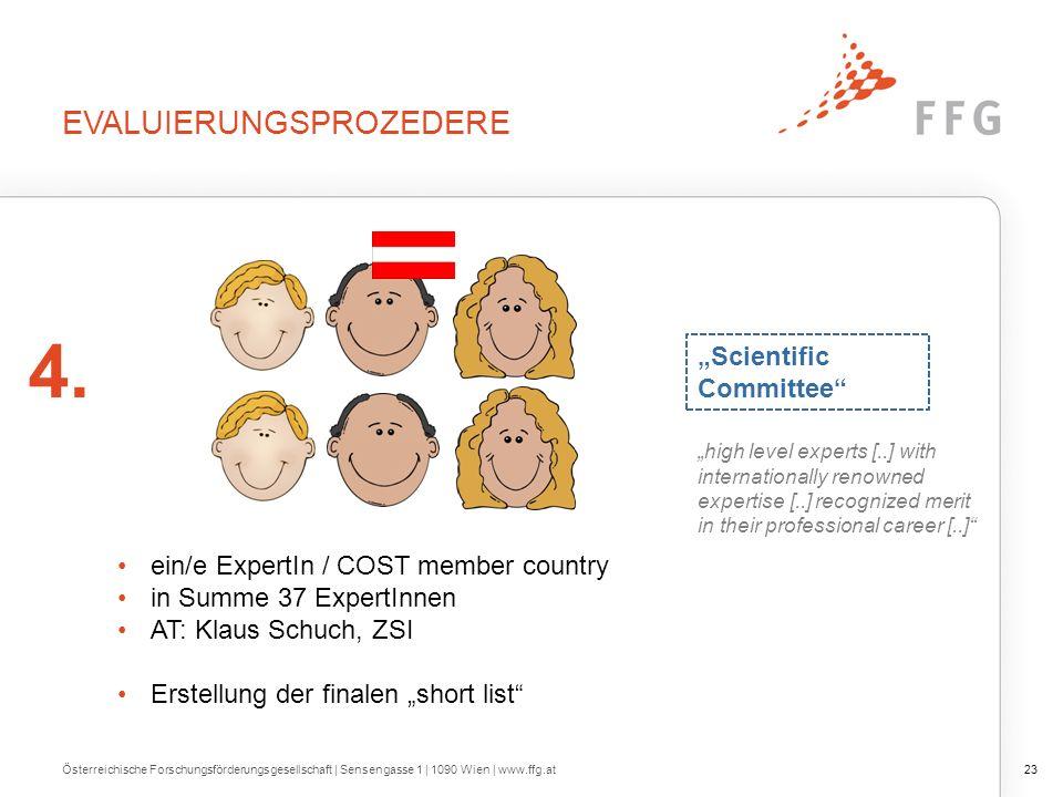 EVALUIERUNGSPROZEDERE Österreichische Forschungsförderungsgesellschaft | Sensengasse 1 | 1090 Wien | www.ffg.at23 4.