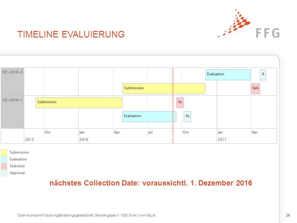 TIMELINE EVALUIERUNG Österreichische Forschungsförderungsgesellschaft | Sensengasse 1 | 1090 Wien | www.ffg.at26 nächstes Collection Date: voraussichtl.