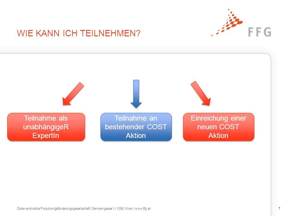 INFORMATION & SERVICES FFG Webseite zu COST https://www.ffg.at/europa/cost Offizielle COST Webseite http://www.cost.eu/ Österreichische Forschungsförderungsgesellschaft | Sensengasse 1 | 1090 Wien | www.ffg.at28