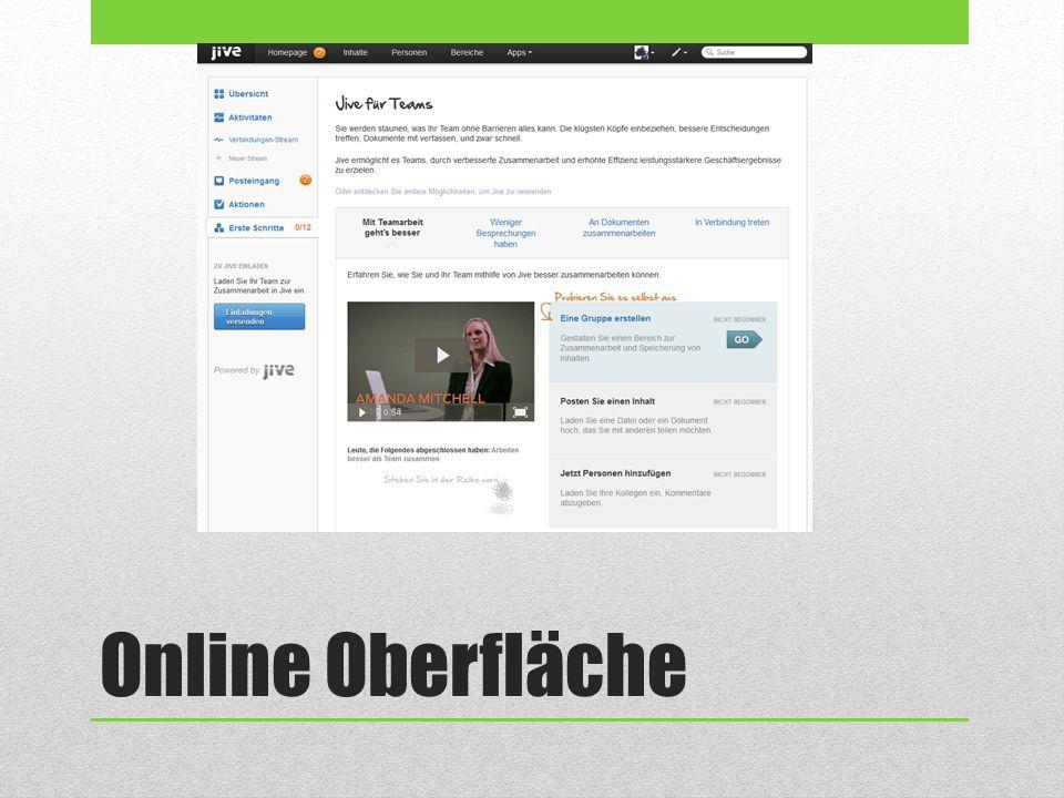 Online Oberfläche