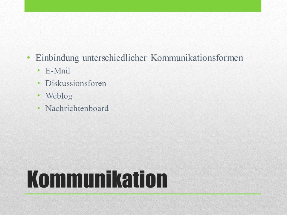 Kommunikation Einbindung unterschiedlicher Kommunikationsformen E-Mail Diskussionsforen Weblog Nachrichtenboard
