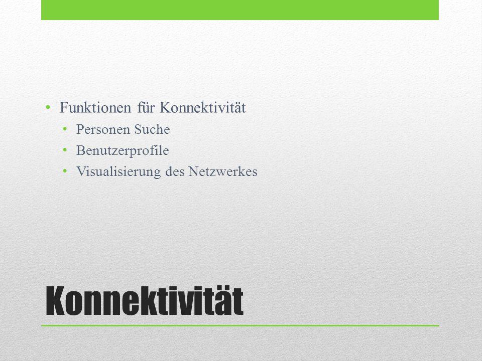 Konnektivität Funktionen für Konnektivität Personen Suche Benutzerprofile Visualisierung des Netzwerkes