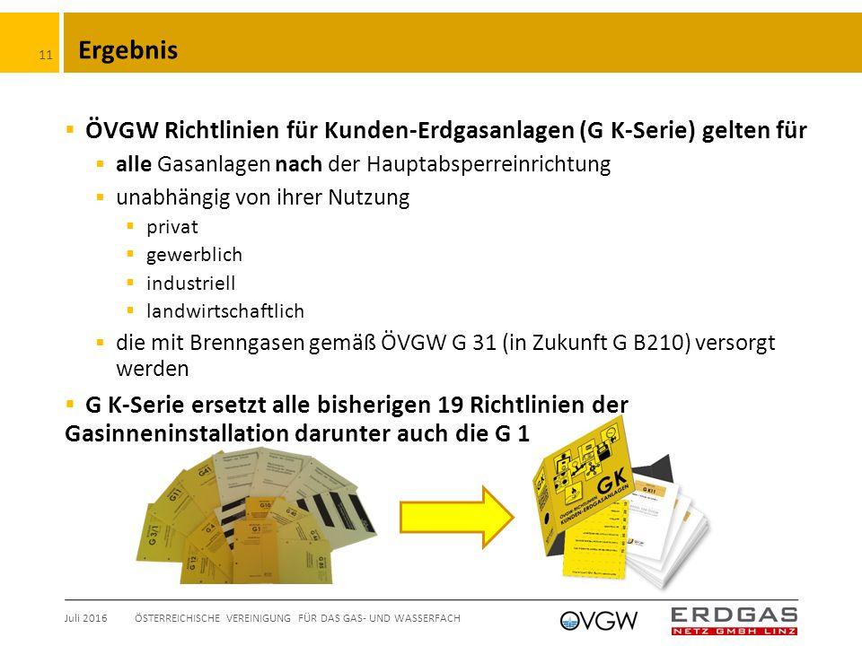 Ergebnis  ÖVGW Richtlinien für Kunden-Erdgasanlagen (G K-Serie) gelten für  alle Gasanlagen nach der Hauptabsperreinrichtung  unabhängig von ihrer Nutzung  privat  gewerblich  industriell  landwirtschaftlich  die mit Brenngasen gemäß ÖVGW G 31 (in Zukunft G B210) versorgt werden  G K-Serie ersetzt alle bisherigen 19 Richtlinien der Gasinneninstallation darunter auch die G 1 Juli 2016ÖSTERREICHISCHE VEREINIGUNG FÜR DAS GAS- UND WASSERFACH 11