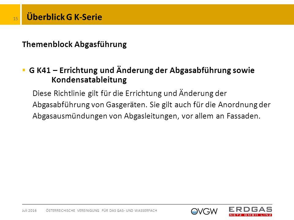 Überblick G K-Serie Themenblock Abgasführung  G K41 – Errichtung und Änderung der Abgasabführung sowie Kondensatableitung Diese Richtlinie gilt für die Errichtung und Änderung der Abgasabführung von Gasgeräten.