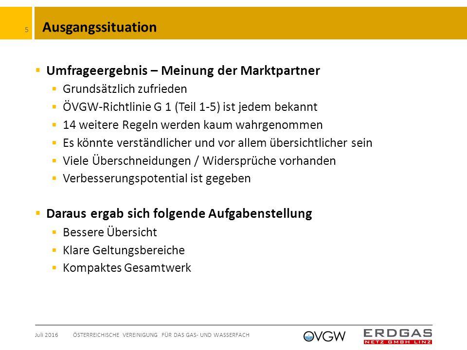 """Umsetzung  Kennbuchstaben  """"G … Gas  """"K … Kunden-Erdgasanlagen Juli 2016ÖSTERREICHISCHE VEREINIGUNG FÜR DAS GAS- UND WASSERFACH 6 G Exxx G Bxxx G Oxxx G Kxx G Fxx G Sxx Seit 2011 in Kraft Ausgabedatum in Planung August 2016"""