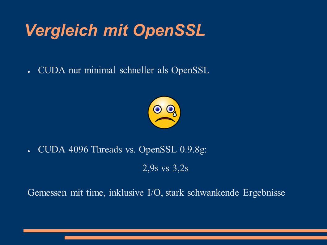 Vergleich mit OpenSSL ● CUDA nur minimal schneller als OpenSSL ● CUDA 4096 Threads vs.