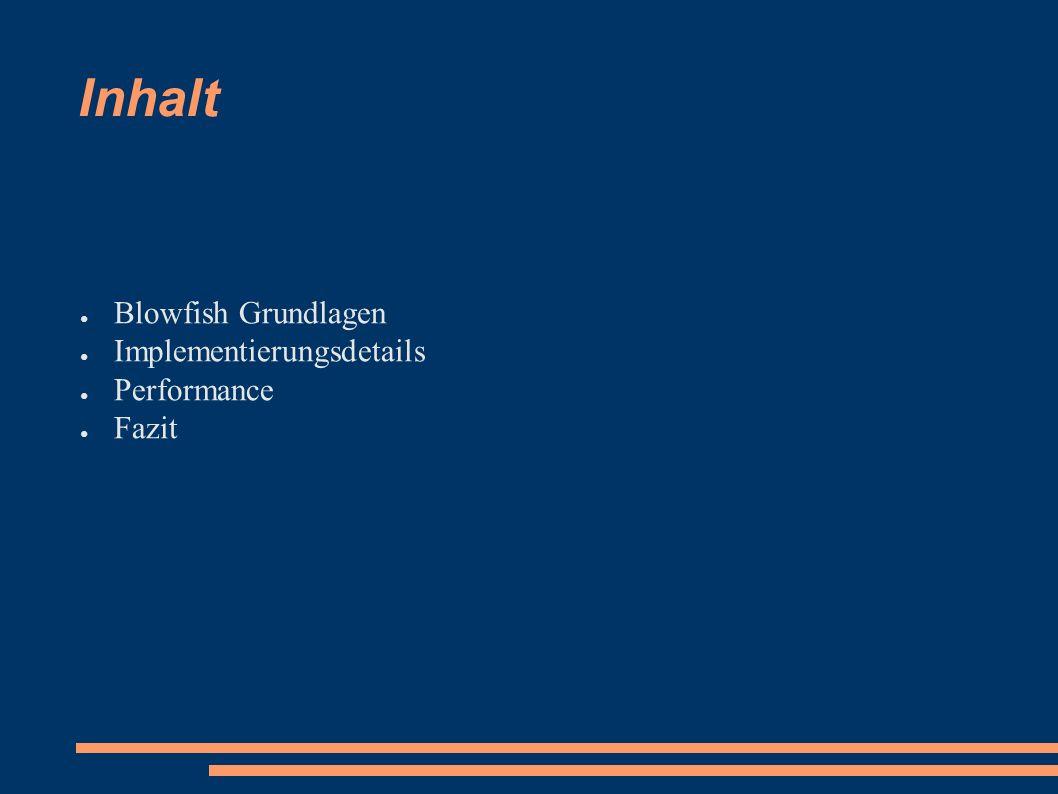 Inhalt ● Blowfish Grundlagen ● Implementierungsdetails ● Performance ● Fazit