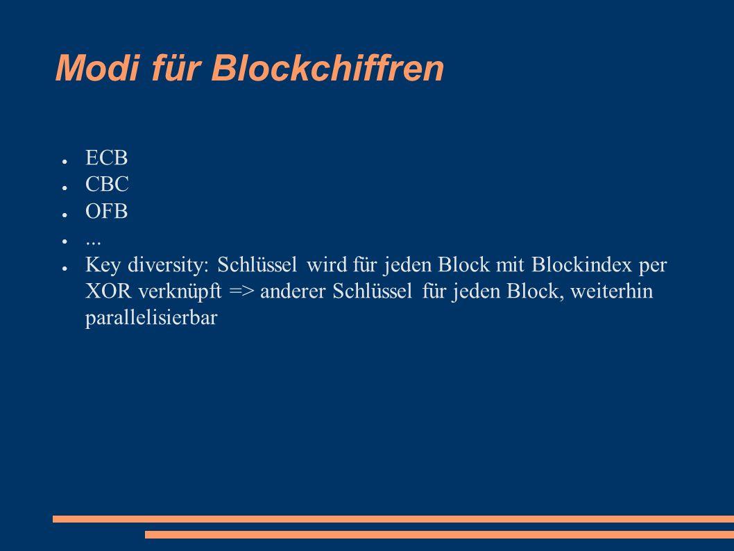 Modi für Blockchiffren ● ECB ● CBC ● OFB ●...