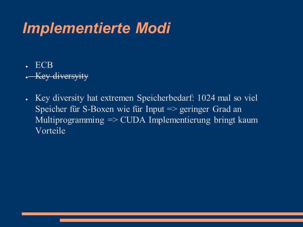 Implementierte Modi ● ECB ● Key diversyity ● Key diversity hat extremen Speicherbedarf: 1024 mal so viel Speicher für S-Boxen wie für Input => geringer Grad an Multiprogramming => CUDA Implementierung bringt kaum Vorteile