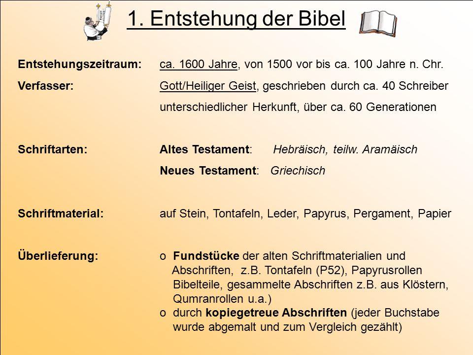 1. Entstehung der Bibel Entstehungszeitraum: ca. 1600 Jahre, von 1500 vor bis ca. 100 Jahre n. Chr. Verfasser: Gott/Heiliger Geist, geschrieben durch