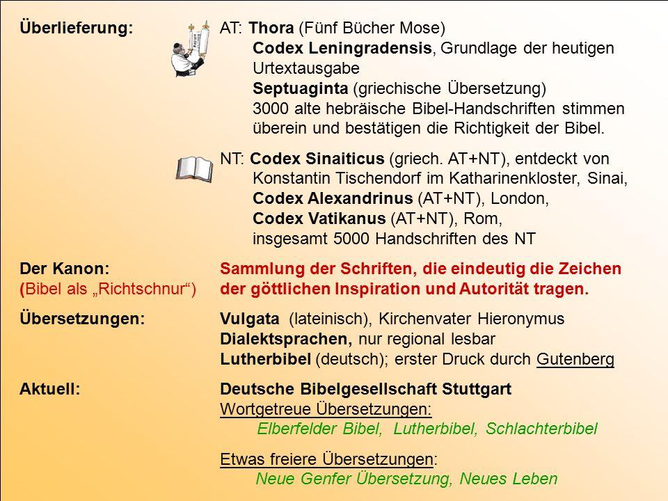 Überlieferung:AT: Thora (Fünf Bücher Mose) Codex Leningradensis, Grundlage der heutigen Urtextausgabe Septuaginta (griechische Übersetzung) 3000 alte hebräische Bibel-Handschriften stimmen überein und bestätigen die Richtigkeit der Bibel.