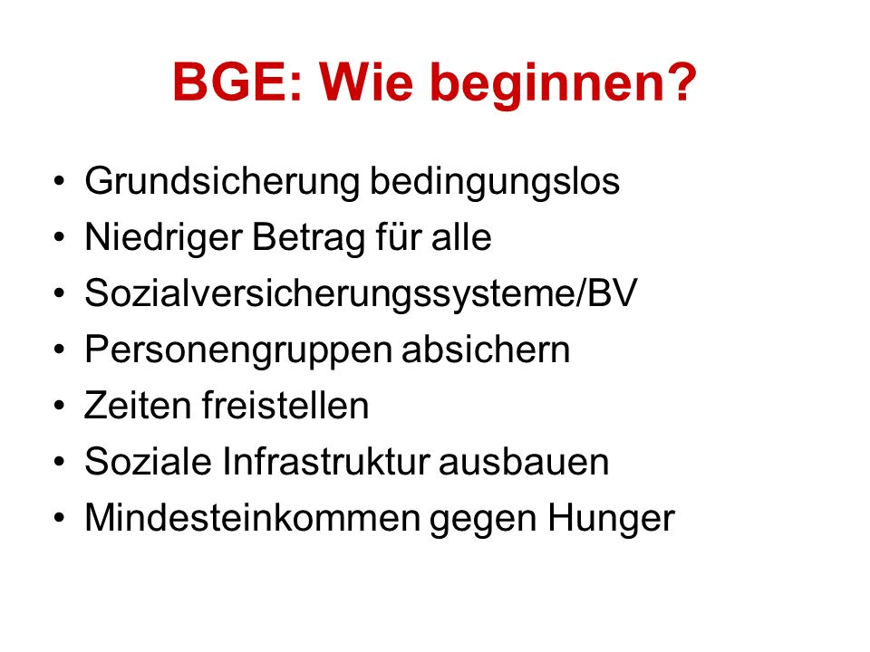 BGE: Wie beginnen.