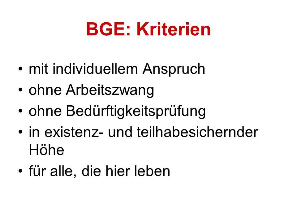 mit individuellem Anspruch ohne Arbeitszwang ohne Bedürftigkeitsprüfung in existenz- und teilhabesichernder Höhe für alle, die hier leben BGE: Kriterien