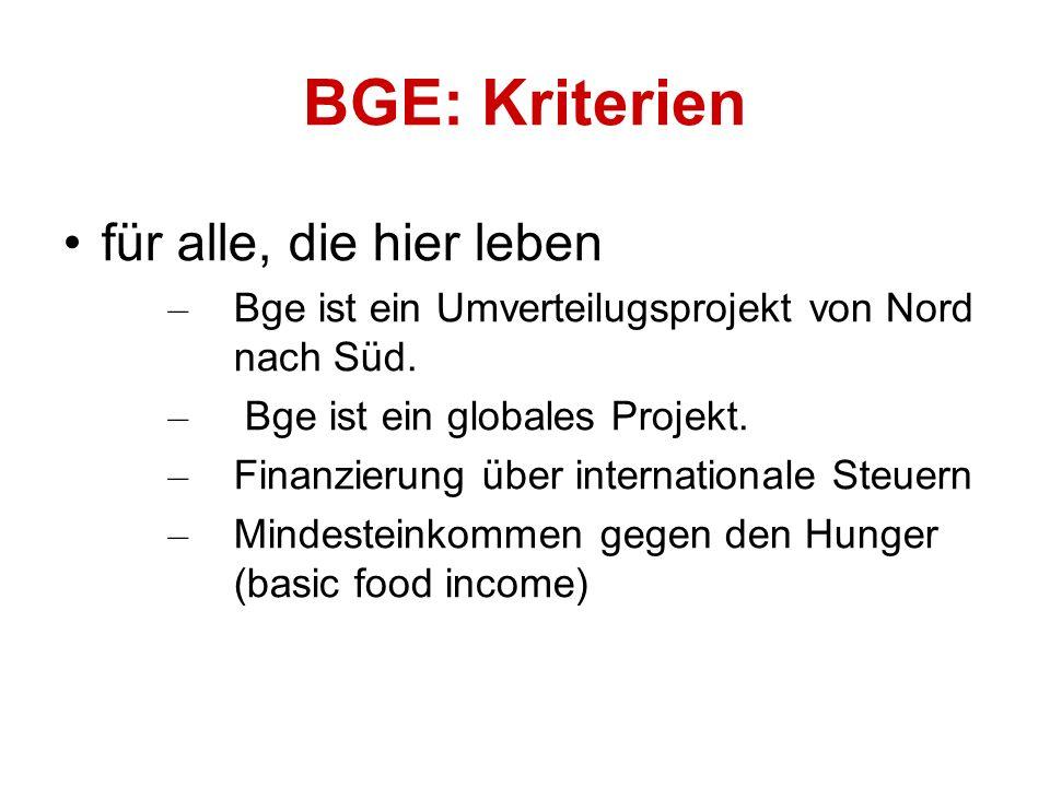 für alle, die hier leben – Bge ist ein Umverteilugsprojekt von Nord nach Süd.