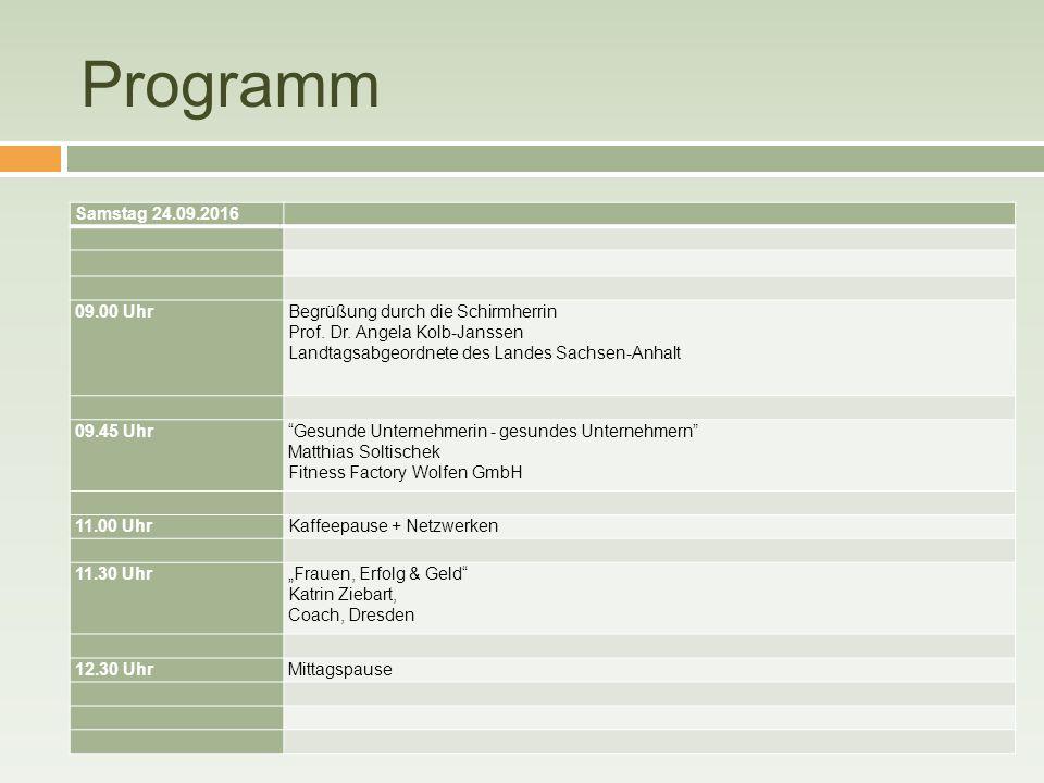 Programm Samstag 24.09.2016 09.00 UhrBegrüßung durch die Schirmherrin Prof. Dr. Angela Kolb-Janssen Landtagsabgeordnete des Landes Sachsen-Anhalt 09.4
