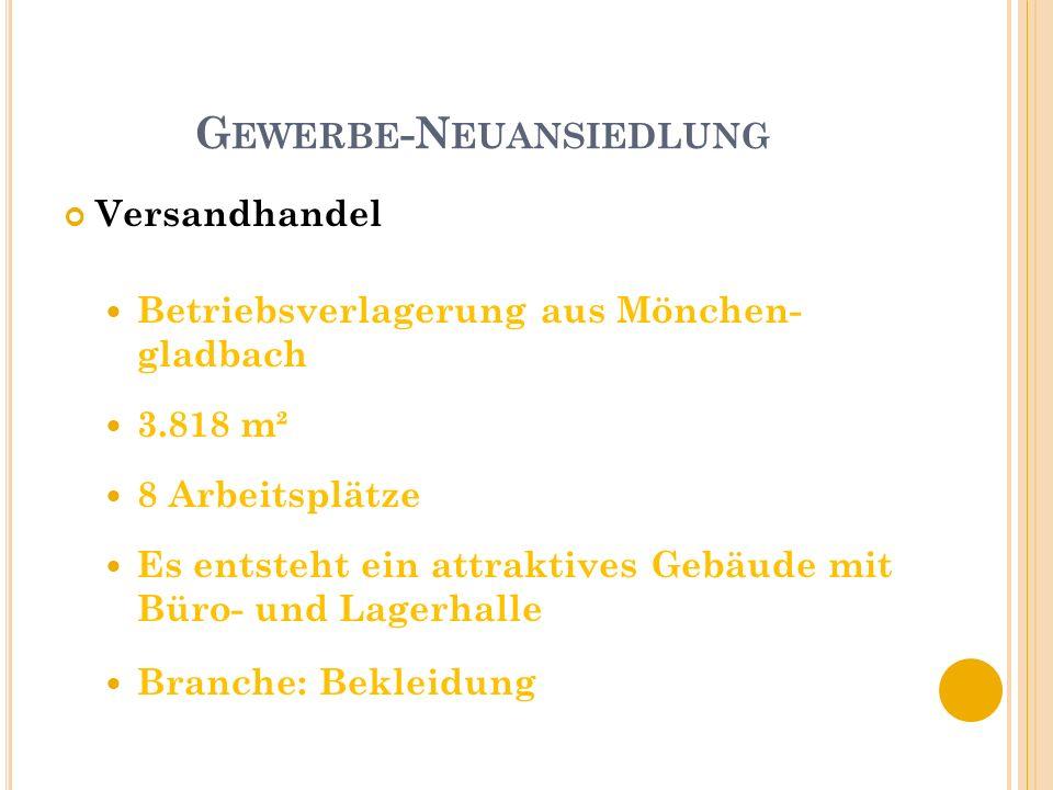 G EWERBE -N EUANSIEDLUNG Versandhandel Betriebsverlagerung aus Mönchen- gladbach 3.818 m² 8 Arbeitsplätze Es entsteht ein attraktives Gebäude mit Büro- und Lagerhalle Branche: Bekleidung