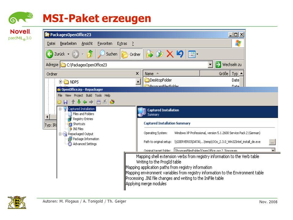 Nov. 2008 Autoren: M. Flogaus / A. Tonigold / Th. Geiger MSI-Paket erzeugen