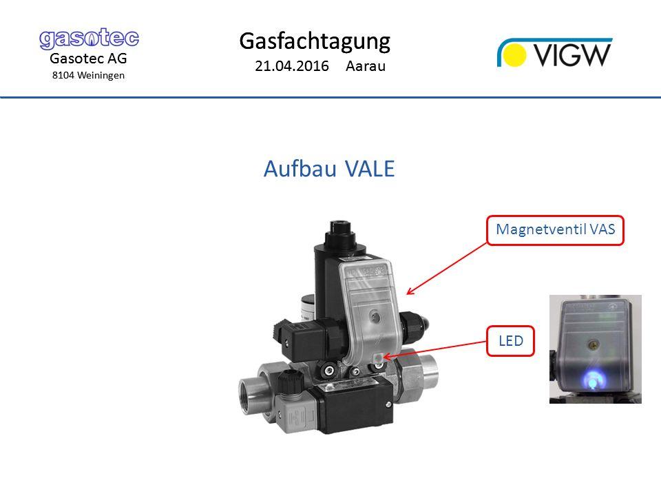 Gasotec AG 8104 Weiningen Gasfachtagung 21.04.2016 Aarau Gasotec AG 8104 Weiningen Gasfachtagung 21.04.2016 Aarau Aufbau VALE Magnetventil VAS LED