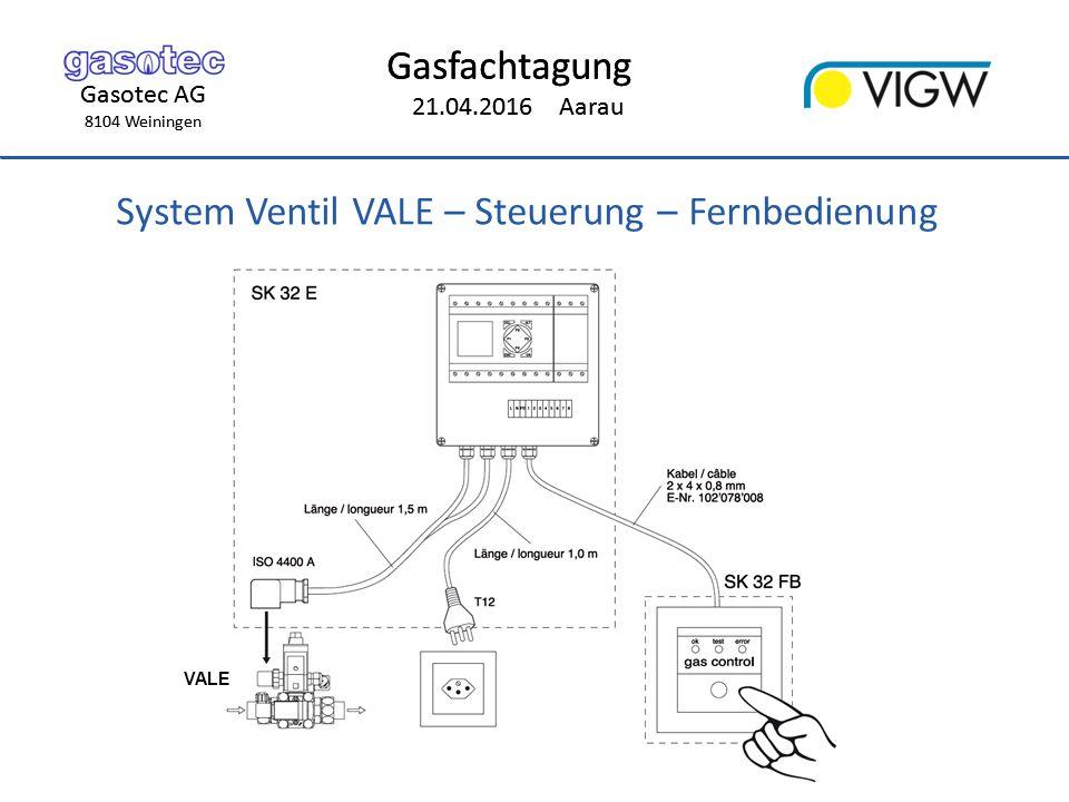 Gasotec AG 8104 Weiningen Gasfachtagung 21.04.2016 Aarau Gasotec AG 8104 Weiningen Gasfachtagung 21.04.2016 Aarau System Ventil VALE – Steuerung – Fernbedienung VALE