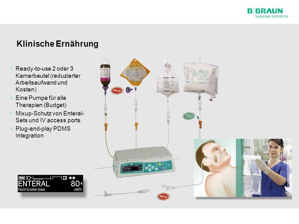 Hospital Care | Besuch SPZ Nottwil | Seite Klinische Ernährung  Ready-to-use 2 oder 3 Kamerbeutel (reduzierter Arbeitsaufwand und Kosten)  Eine Pumpe für alle Therapien (Budget)  Mixup-Schutz von Enteral- Sets und IV access ports  Plug-and-play PDMS Integration 10