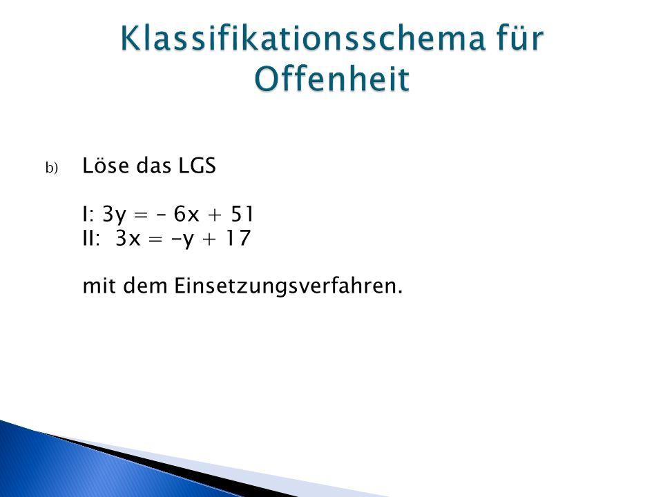 b) Löse das LGS I: 3y = – 6x + 51 II: 3x = -y + 17 mit dem Einsetzungsverfahren.