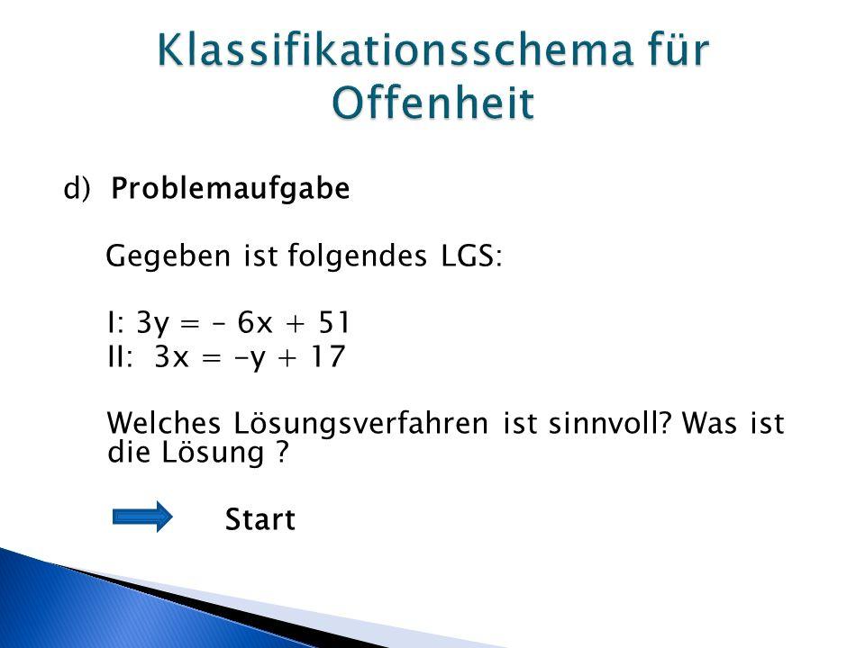 d) Problemaufgabe Gegeben ist folgendes LGS: I: 3y = – 6x + 51 II: 3x = -y + 17 Welches Lösungsverfahren ist sinnvoll.