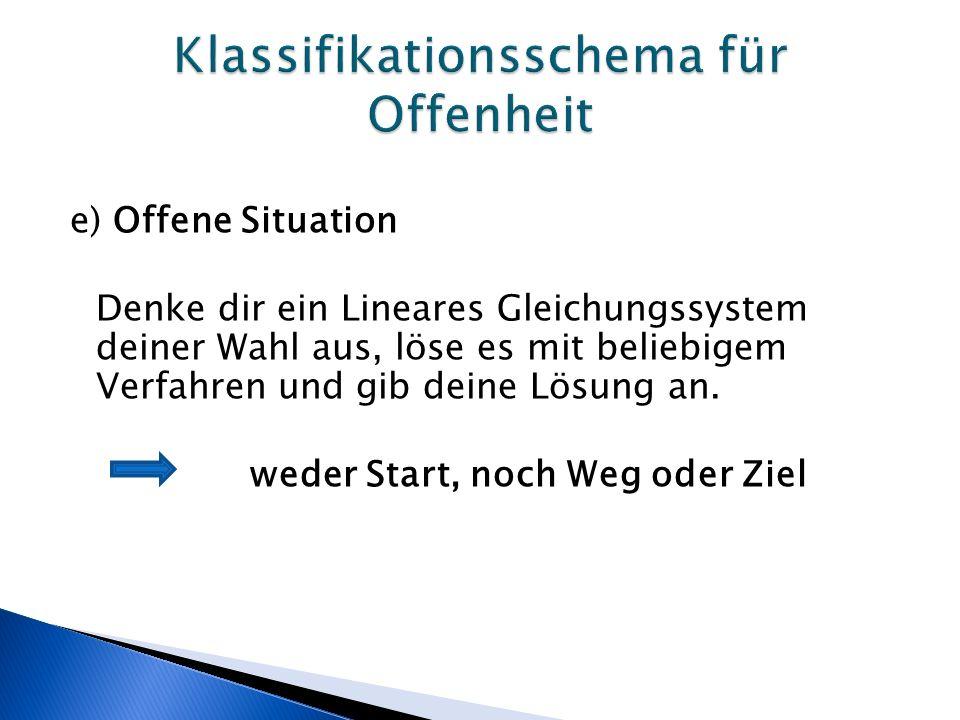 e) Offene Situation Denke dir ein Lineares Gleichungssystem deiner Wahl aus, löse es mit beliebigem Verfahren und gib deine Lösung an.
