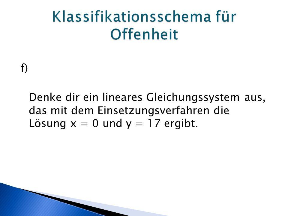 f) Denke dir ein lineares Gleichungssystem aus, das mit dem Einsetzungsverfahren die Lösung x = 0 und y = 17 ergibt.