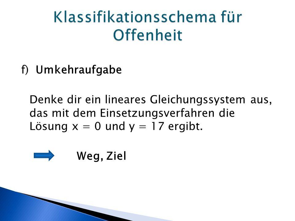 f) Umkehraufgabe Denke dir ein lineares Gleichungssystem aus, das mit dem Einsetzungsverfahren die Lösung x = 0 und y = 17 ergibt.