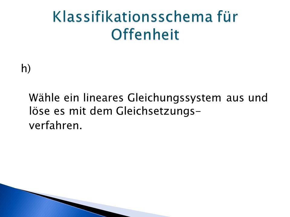 h) Wähle ein lineares Gleichungssystem aus und löse es mit dem Gleichsetzungs- verfahren.