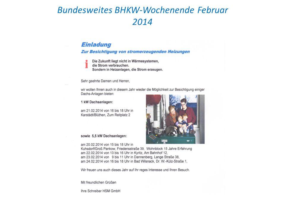 Bundesweites BHKW-Wochenende Februar 2014