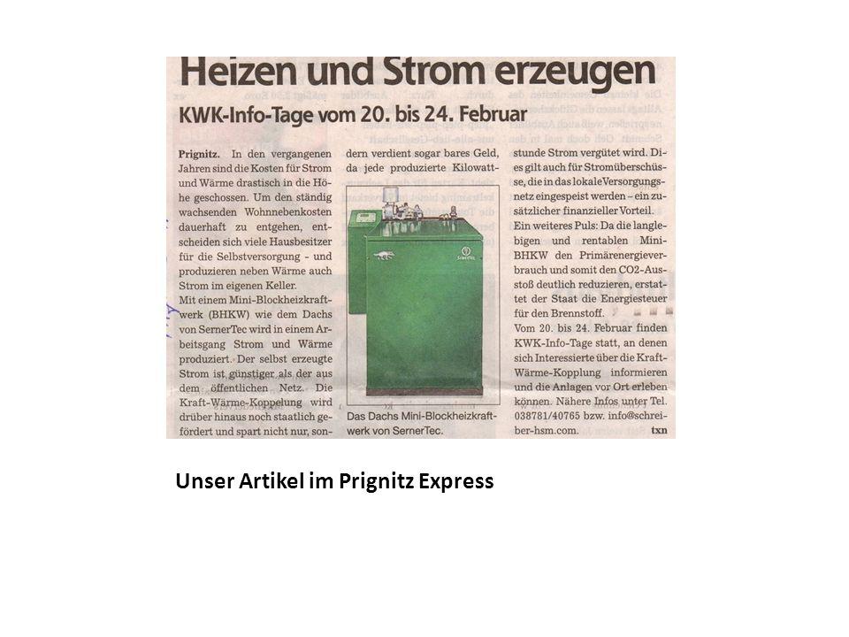 Unser Artikel im Prignitz Express