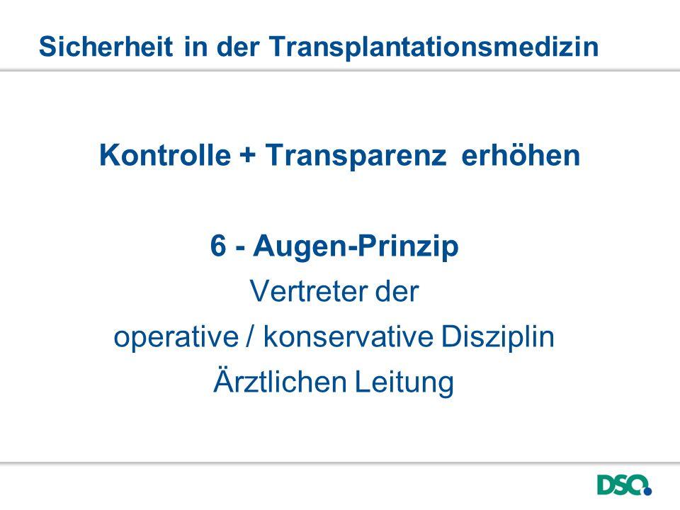 Sicherheit in der Transplantationsmedizin Kontrolle + Transparenz erhöhen 6 - Augen-Prinzip Vertreter der operative / konservative Disziplin Ärztlichen Leitung