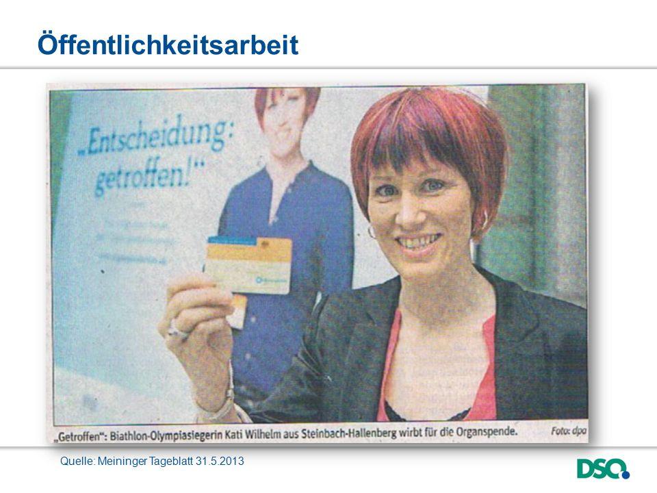 Öffentlichkeitsarbeit Quelle: Meininger Tageblatt 31.5.2013