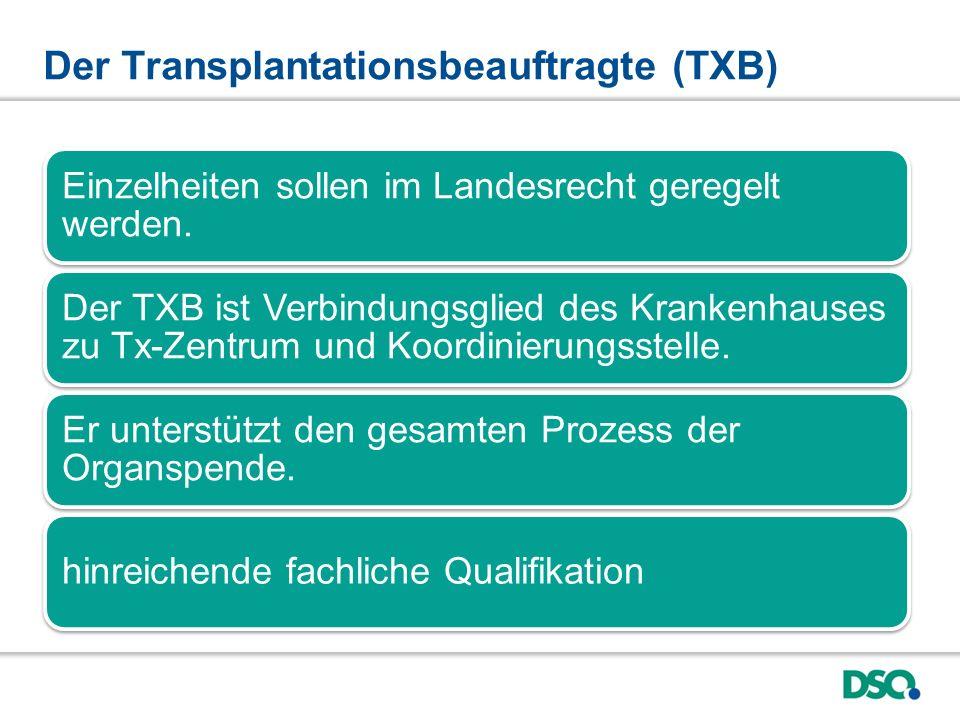 Der Transplantationsbeauftragte (TXB) Einzelheiten sollen im Landesrecht geregelt werden.