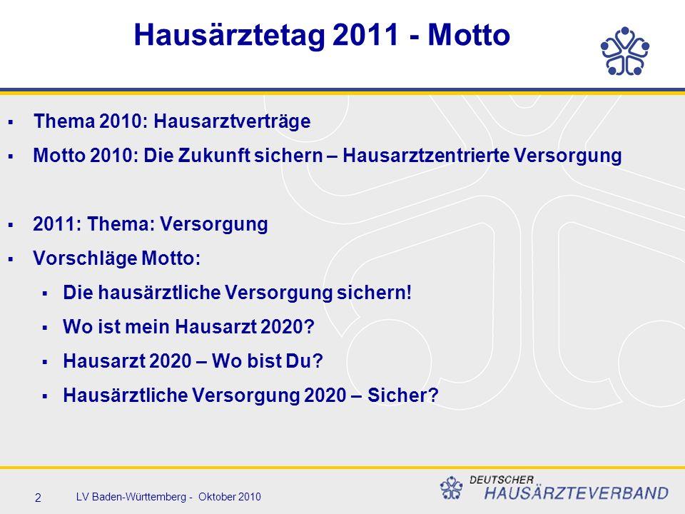 2 LV Baden-Württemberg - Oktober 2010 Hausärztetag 2011 - Motto  Thema 2010: Hausarztverträge  Motto 2010: Die Zukunft sichern – Hausarztzentrierte Versorgung  2011: Thema: Versorgung  Vorschläge Motto:  Die hausärztliche Versorgung sichern.