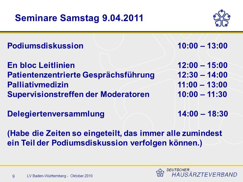 9 LV Baden-Württemberg - Oktober 2010 Seminare Samstag 9.04.2011 Podiumsdiskussion10:00 – 13:00 En bloc Leitlinien12:00 – 15:00 Patientenzentrierte Gesprächsführung12:30 – 14:00 Palliativmedizin11:00 – 13:00 Supervisionstreffen der Moderatoren10:00 – 11:30 Delegiertenversammlung 14:00 – 18:30 (Habe die Zeiten so eingeteilt, das immer alle zumindest ein Teil der Podiumsdiskussion verfolgen können.)