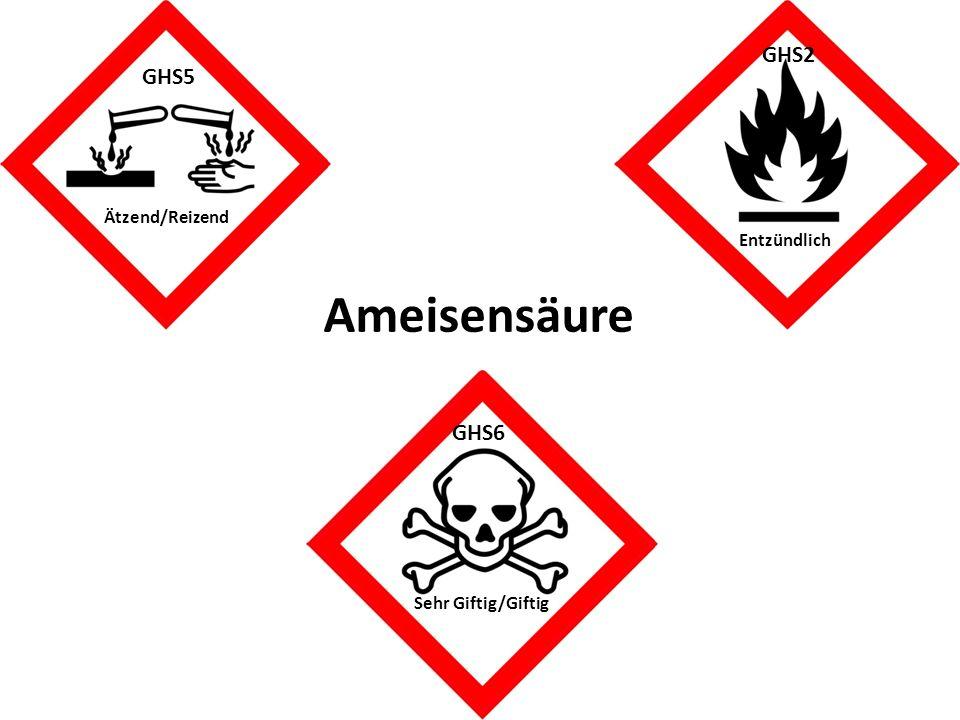 GHS2 GHS5 GHS6 Ameisensäure Ätzend/Reizend Sehr Giftig/Giftig Entzündlich