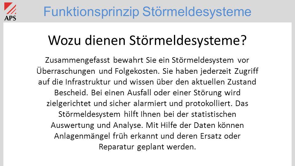 Funktionsprinzip Störmeldesysteme Wozu dienen Störmeldesysteme.