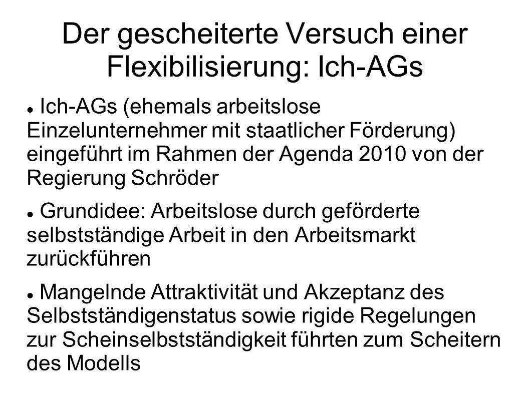 Kurzfristige Möglichkeiten zur Erhöhung der Flexibilität Lockerung der Regelungen zur Scheinselbstständigkeit Vereinfachung des Steuerrechts für Einzelunternehmer (analog zur vereinfachten Steuererklärung für Arbeitnehmer) Einführung eines Überbrückungsgeldes für Einzelunternehmer für kurzfristige wirtschaftliche Tiefphasen (analog zu ALG I)