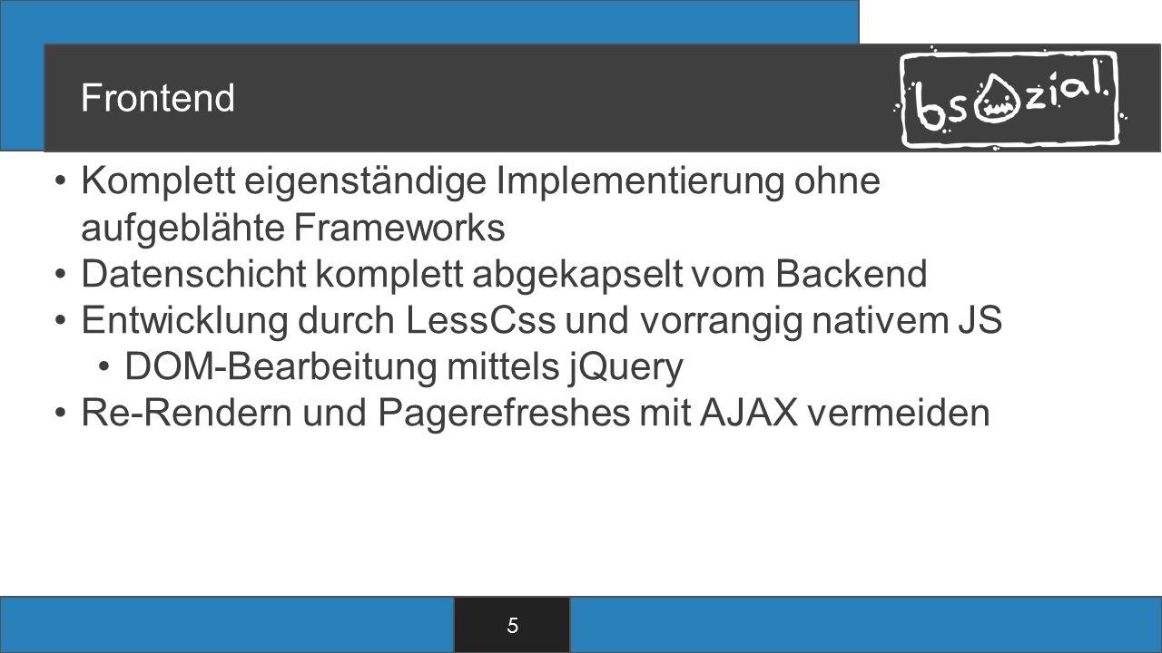 Frontend Komplett eigenständige Implementierung ohne aufgeblähte Frameworks Datenschicht komplett abgekapselt vom Backend Entwicklung durch LessCss und vorrangig nativem JS DOM-Bearbeitung mittels jQuery Re-Rendern und Pagerefreshes mit AJAX vermeiden 5