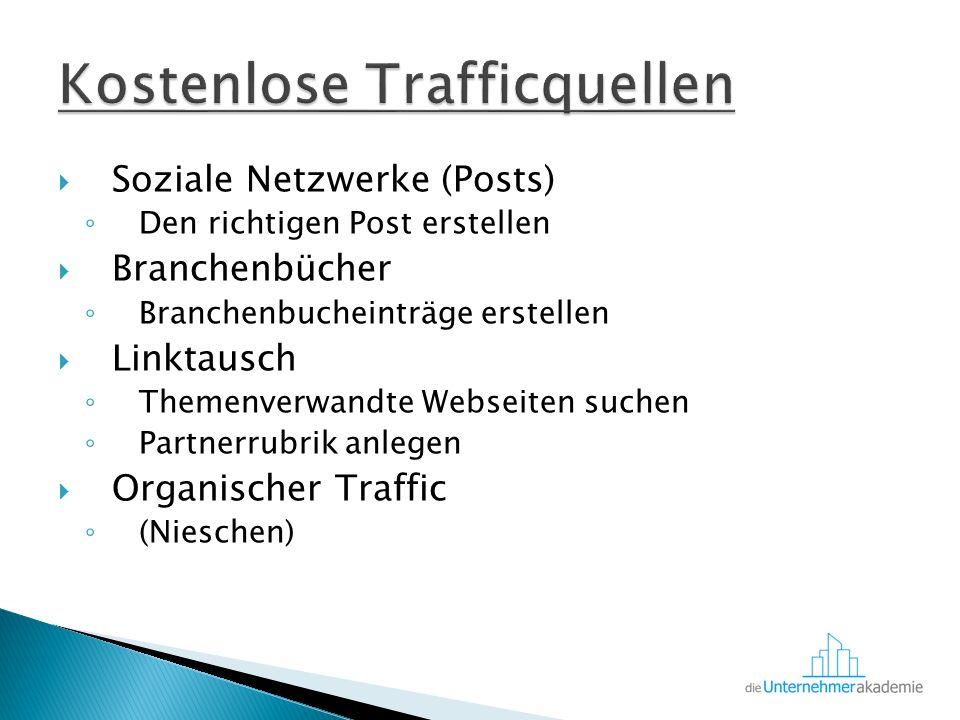  Soziale Netzwerke (Posts) ◦ Den richtigen Post erstellen  Branchenbücher ◦ Branchenbucheinträge erstellen  Linktausch ◦ Themenverwandte Webseiten suchen ◦ Partnerrubrik anlegen  Organischer Traffic ◦ (Nieschen)