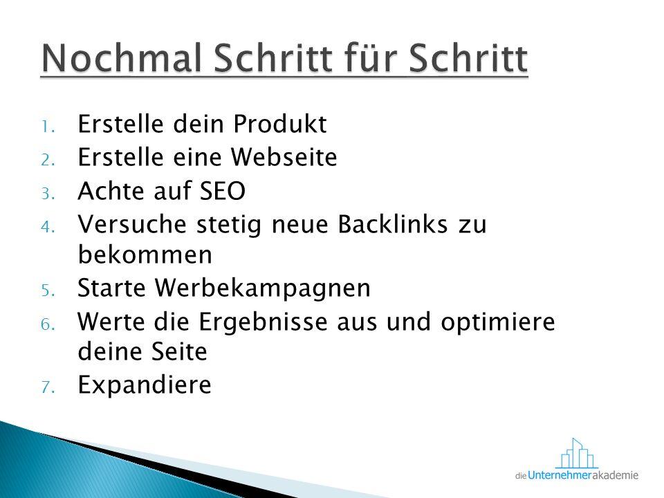 1. Erstelle dein Produkt 2. Erstelle eine Webseite 3.