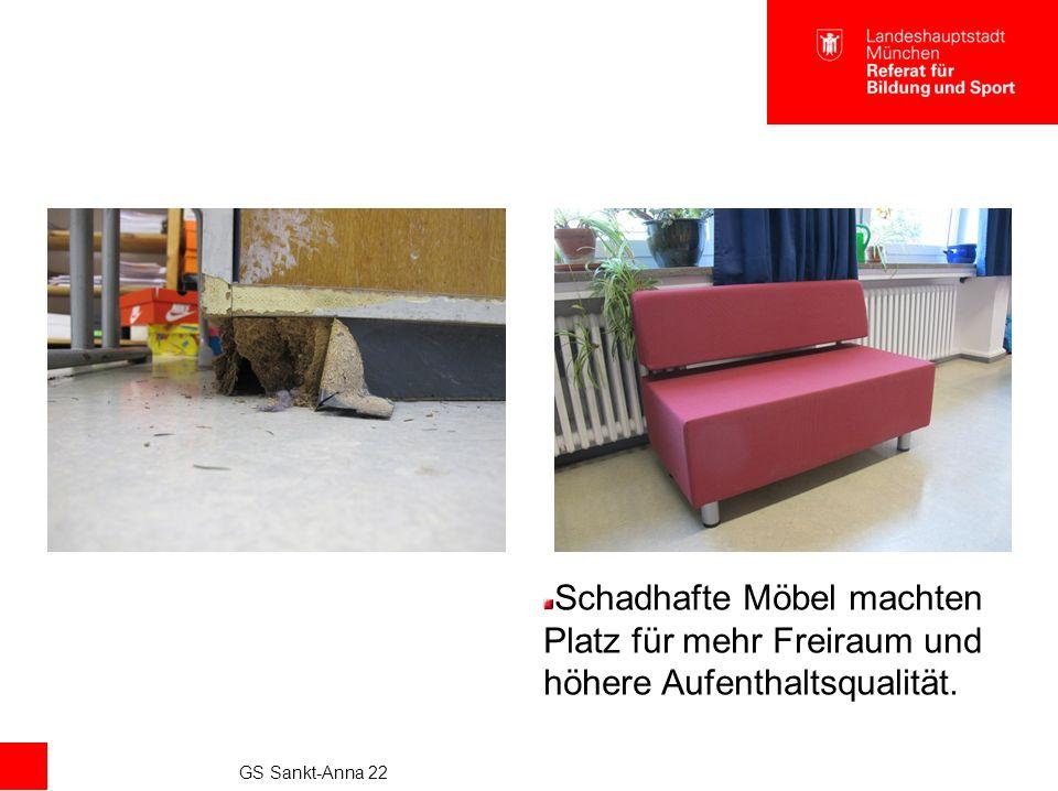 GS Sankt-Anna 22 Schadhafte Möbel machten Platz für mehr Freiraum und höhere Aufenthaltsqualität.